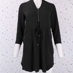 3/4 Sleeve Short Tunic Dress Waist Tie Black